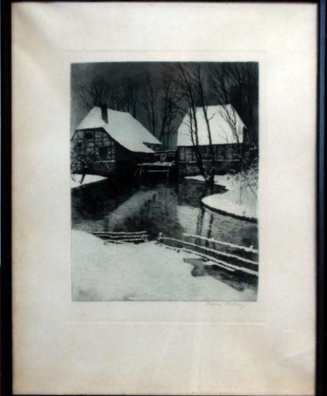 """""""Mühle im Schnee"""" von Franz Hecker"""
